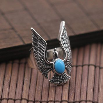 Men's Stainless Steel Natural stone eagle Ring Fashion Cool Gothic Punk Biker Finger Rings Jewelry Size 9-11