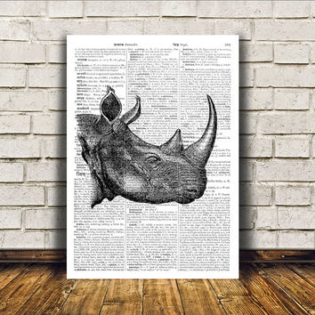 Animal art Rhino poster Dictionary print Modern decor RTA21