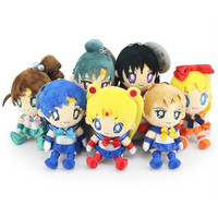 "Sailor Moon plush 7pcs/set 6""15cm Mars Jupiter Venus Mercury Uranus Pluto Plush Toys Dolls With Tag Alternative Measures"