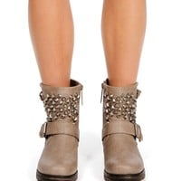 Beige Studded Moto Boots