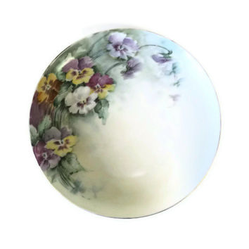 Vintage M. Z. Austria Pansy Plate, Painted Floral Plate