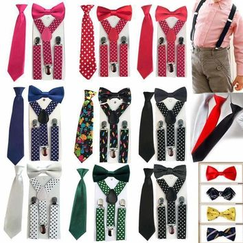 3PCS Baby Suspenders Children's Boys Bowtie Kid Suspender Set Elastic Adjustable Y-Back Braces Kids Ties Wedding HHtr0005