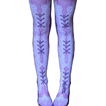 SteampunkCorset Tattoo Tights Lace Adult Seamless Leggings Opaque Pink Purple Lacey w/ Garter