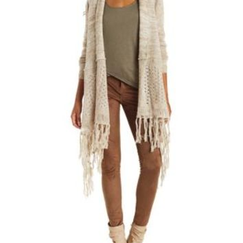 Taupe Pointelle Fringe Cardigan Sweater by Charlotte Russe