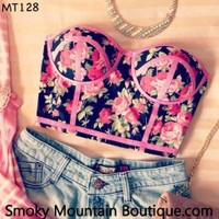 Midriff Bustier Top With Pink Floral Pattern Size S/M - MT128 - Smoky Mountain Boutique
