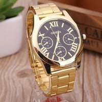 New Luxury Men Women Geneva Casual Stainless Steel Analog Simple Gold Roman Numerals Round Movement Quartz Wrist Watch (With Thanksgiving&Christmas Gift Box)[6280553924]