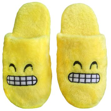 One Size Fits All Warm Soft Unisex Cute Slipper for Indoor Use Grinning Emoji