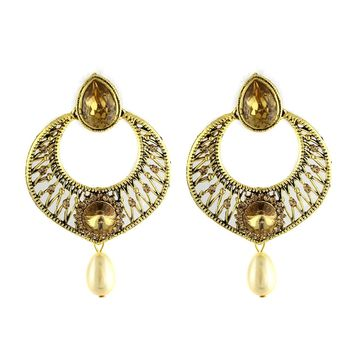 VVS Jewellers Gold Tone Dazzling Traditional Indian Bollywood Style Ethnic Women Polki Kundan Earrings