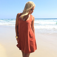 Slick In Suede Tank Dress In Rust