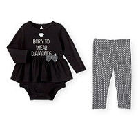 Koala Baby Girls 2 Piece Long Sleeve Hi-Lo Graphic Tutu Bodysuit and Printed Pant Set