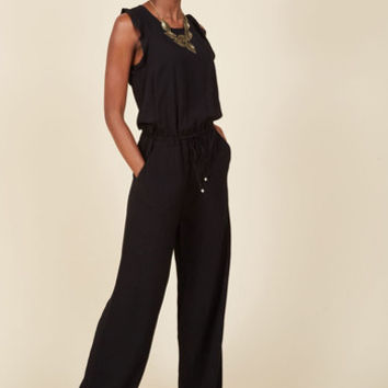 One Step to Winsome Jumpsuit in Black | Mod Retro Vintage Shorts | ModCloth.com