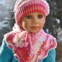 Knitted Children's hat/cap and scarf shawl red pink cream fuchsia color  flower lovely warm cozy Children 5-8 years