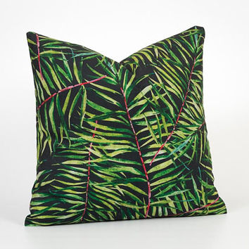 Tropical Pillow Cover. Palm Leaf Pillow. Palm Pillow. Tropical Throw Pillow. Palm Tree Pillow. Dark Green Pillow. Black and Green Pillow