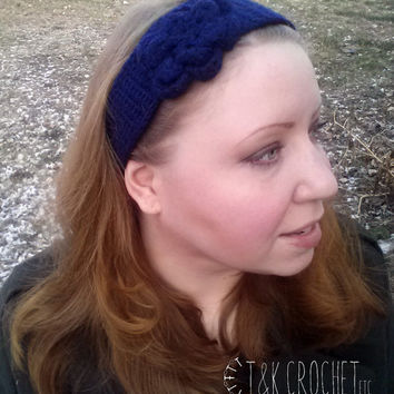 Crochet Headband with Flower - Crochet Ear Warmer