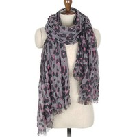 Pashmina Feel Leopard Animal Print Scarf - GREY