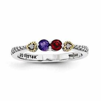 Mother's Sterling Silver Custom Engraved Ring W/ 14K Two Birthstones & Diamond