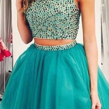 High Neck Two Piece Homecoming Dress with Racer Back