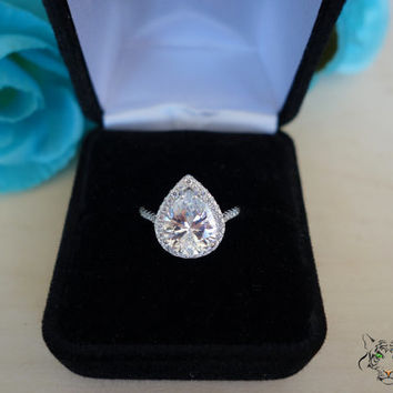 3.5 Carat Pear Cut Halo Engagement Ring,  Vintage Style, D Color Flawless Man Made Diamonds, Wedding, Sterling Silver, Bridal, Promise Ring