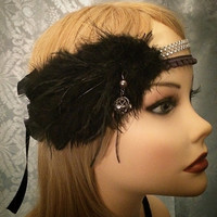 Crystal Black Silver Glitzy Rhinestone decorative Art Deco Flapper Gatsby inspired Feather flapper Headband Ostrich Head 1920s 20s roaring