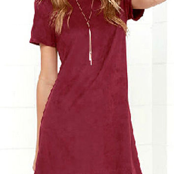 Burgundy Scallop Hem Mini Dress