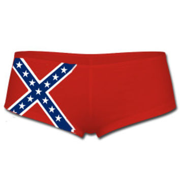 Red Rebel Flag Boy Shorts With Stars and Bars on Front Right