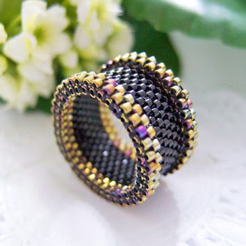 Black Beaded Ring with Gold Trimming in Barrel Style by JeannieRichard