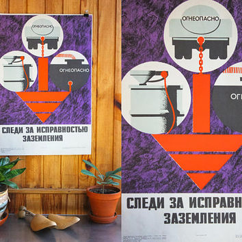 Original Soviet Poster: Insure Proper GROUNDING Work Safety RARE Industrial USSR Vintage Colour Print, Flammable, Fuel | Russian Text