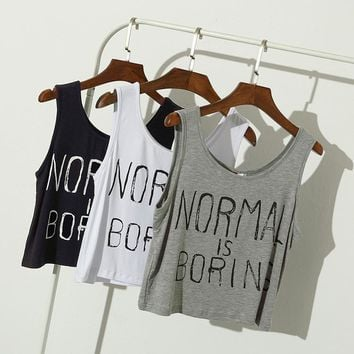 Summer women tank tops NORMAL IS BORING letter print casual loose Sports sleeveless vest women crop tops midriff tops