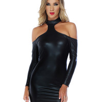 Sexy Black Wet Look Bodycon Mini Dress-Clubwear Dresses
