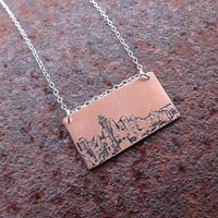 Seattle Washington city skyline etched copper pendant with sterling silver chain handmade gift for her
