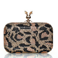 Dazzling Crystal Clutch Leopard Rhinestone Hardware Box Evening Party Wedding Clutch
