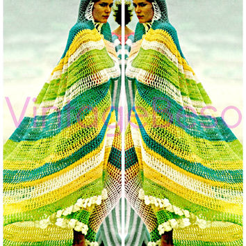 Hooded 1970s Cape of Good Hope INSTANT DOWNLOAD Boho Hippie Cottage Chic Beautiful Feminine Vintage Crochet Pattern Free Gift Shawl Cover