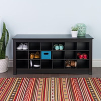Shoe Storage Cubbie Bench Wooden Home Furniture Black Finish With Spacious Top