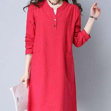 Casual Split Neck Plain Cotton/Linen Simple Shift Dress