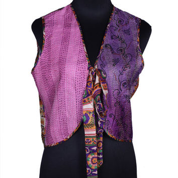 Free Shipping in US - Quilted Pure Silk Kantha Reversible Vest from Jaipur - Free Size