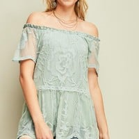 Sage Crochet Mesh Off Shoulder Top