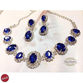 Wedding jewelry, Bridal jewelry, bridesmaid necklace earrings, vintage inspired rhinestone bridal statement, Royal Blue crystal jewelry set