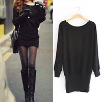 Women Solid Long Batwing Sleeves Knitting Bag-hip Mini Sweater Dress Tops  One Size Knitwear 8790|41001 (Color: Black) = 1945778244