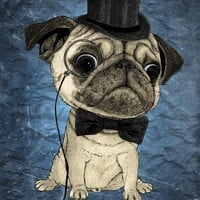 """Gentle pug (color version)"" - Art Print by Barruf"