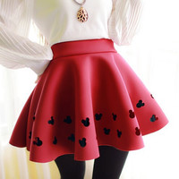 2016 Women Brand Skirt Space Cotton High Waist Skirts Female Red/Black Color Mini Pleated Ball Gown Saias Hot Sale
