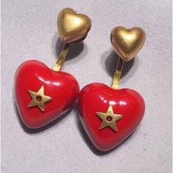 DIOR Autumn Winter Popular Women Chic Red Heart Pendant Earrings Accessories Jewelry