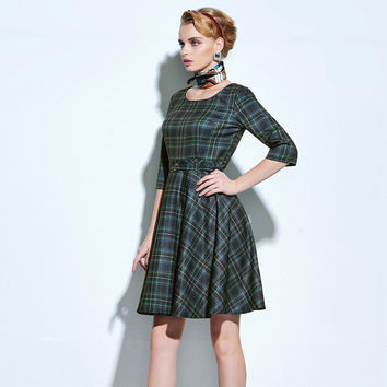 Sisjuly 2016 new women dresses casual elegant vintage plaid dress christmas dress women's clothing style winter party dresses