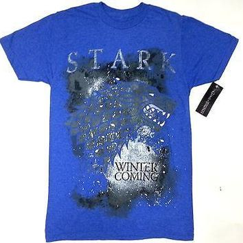 Game Of Thrones STARK SIGIL DIREWOLF WINTER IS COMING T-Shirt Royal NWT Licensed