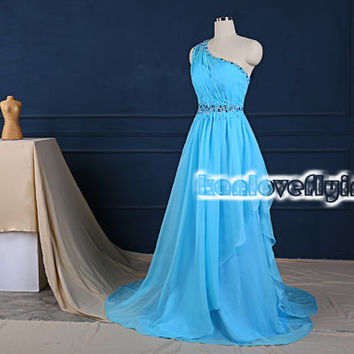 elegant one shoulder blue prom dresses with a train,chiffon bridesmaid dress,blue formal dress,evening dresses,mother of the bride dress