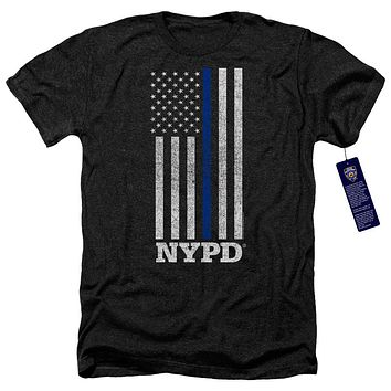 NYPD Heather T-Shirt Thin Blue Line American Flag Black Tee