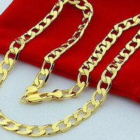 "2014 hot selling classic 24K YELLOW GOLD FILLED MEN'S NECKLACE 24""Solid CURB CHAINS GF JEWELRY 60cm,10cm,72g"