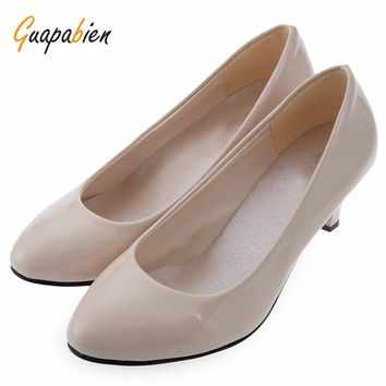 Guapabien Spring Summer Elegant Ladies Pumps Shallow Mouth Low Heel Business Shoes Women PU Leather Shoes Heels Single Shoes