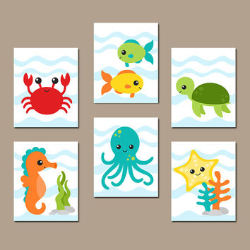 OCEAN Animals Wall Art, CANVAS or Print, Under the Sea Animals, Nautical Bathroom Artwork, Colorful Fish Child Bath Decor, Set of 6 Pictures