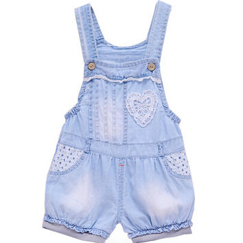 Summer Cotton Infant Bib Overalls Thin Denim Lace Love Baby Short Pant  Boy and girl baby Fashion  Loose kids jeans shorts