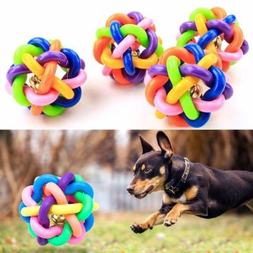 colorful ball pet toy dog toy cat toy with bell for small medium large dog Chihuahua Yorkshire Poodle pet product hot